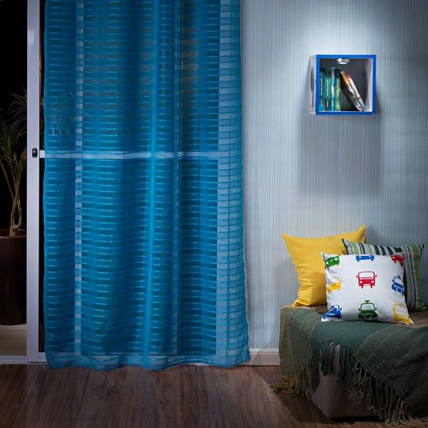 Cortina fine azul vem com 1 folha de 1 40x2 60m leroy merlin for Cortinas azul turquesa