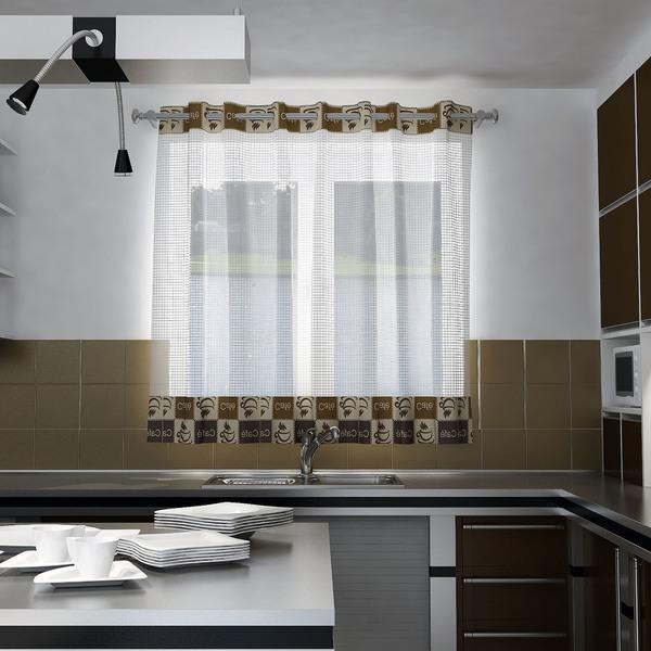 Cortina Cafe Branca E Marrom Vem Com 1 Folha De 140x150m Leroy - Tela-para-cortina