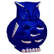 Coruja Cerâmica 18cm Cobalto