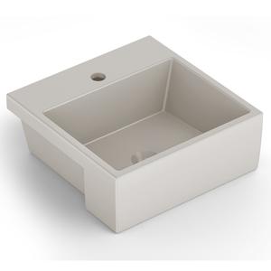 Cuba de Semi Encaixe Cerâmica Quadrado Bege Matte 15,5x41x41 Q2 Celite