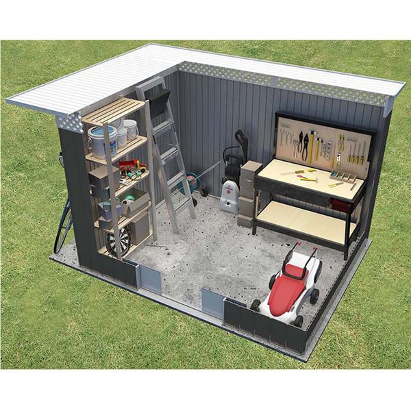 Dep sito para jardim a o galvanizado chester 142x257x184cm for Deposito agua leroy merlin