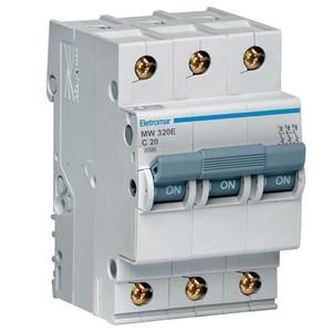 Disjuntor Din Tripolar 220/400V 20A 54x85,10x58,30mm Mw320E Eletromar