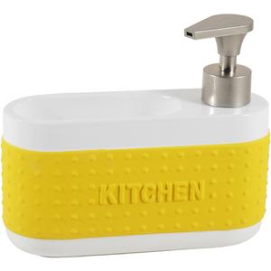 Dispenser Porta Esponja Cerâmica Amarelo Importado