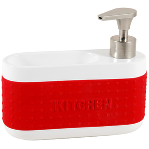 Dispenser Porta Esponja Cerâmica Vermelho Importado