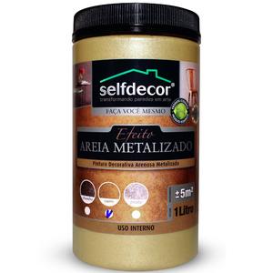 Efeito Areia Metalizado Selfdecor Ouro 1L Bricolagem