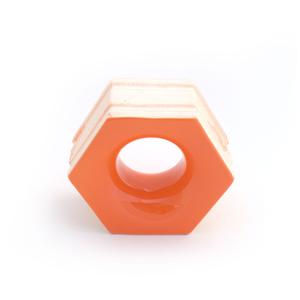 Elemento Vazado Cerâmica Esmaltado Arancione Favo 13x16x7cm Elemento V