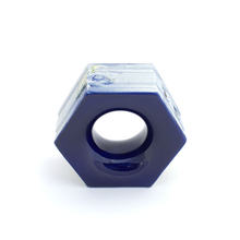 Elemento Vazado Cerâmica Esmaltado Azzuro Favo 13x16x7cm Elemento V