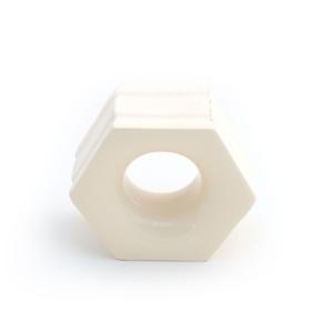 Elemento Vazado Cerâmica Esmaltado Beige Favo 13x16x7cm Elemento V
