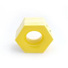 Elemento Vazado Cerâmica Esmaltado Giallo Cítrico Favo 13x16x7cm Elemento V