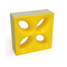 Elemento Vazado Cerâmica Esmaltado Giallo Citrico Mini Foglio 20x20x7,5cm Elemento V