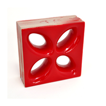 Elemento Vazado Cerâmica Esmaltado Rosso Mini Foglio 20x20x7,5cm Elemento V
