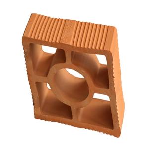 Elemento Vazado Diagonal Redondo 9x16,5x16,5cm Cerâmica Porto Galera