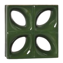 Elemento Vazado Louça Esmaltado Folha Verde Hortelã 25x25x7,5cm Cerâmica Martins