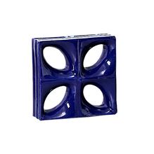 Elemento Vazado Louça Esmaltado Azul Cobalto 19x19x8cm Cerâmica Martins