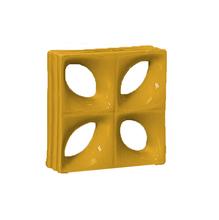 Elemento Vazado Louça Esmaltado Folha Amarelo 19x19x8cm Cerâmica Martins