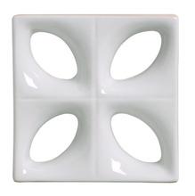 Elemento Vazado Louça Esmaltado Folha Branca 25,5X25,5X7,5cm Martins