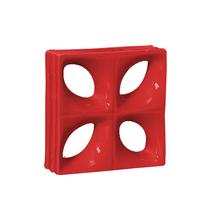 Elemento Vazado Louça Esmaltado Folha Vermelho 19x19x8cm Cerâmica Martins