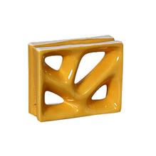 Elemento Vazado Louça Esmaltado Rama Amarelo 19x19x8cm Cerâmica Martins