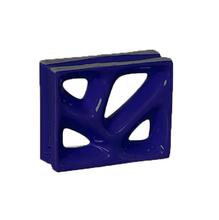 Elemento Vazado Louça Esmaltado Rama Azul Cobalto 19x19x8cm Cerâmica Martins