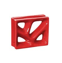 Elemento Vazado Louça Esmaltado Rama Vermelho 19x19x8cm Cerâmica Martins