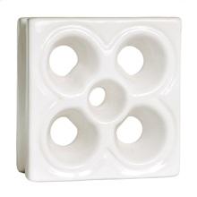 Elemento Vazado Reto Flor Esmaltado Branco 19x19x7cm Cerâmica Martins