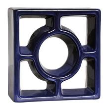 Elemento Vazado Reto Redondo Esmaltado Azul Cobalto 19x19x7cm Cerâmica Martins