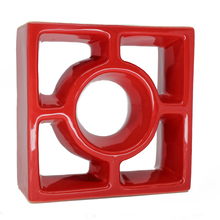 Elemento Vazado Reto Redondo Esmaltado Vermelho 19x19x7cm Cerâmica Martins