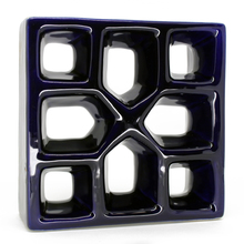 Elemento Vazado Reto Xis Esmaltado Azul Cobalto 19x19x7cm Cerâmica Martins