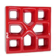 Elemento Vazado Reto Xis Esmaltado Vermelho 19x19x7cm Cerâmica Martins