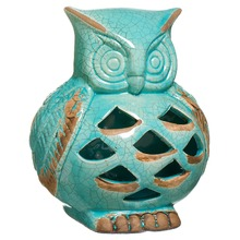 Enfeite Cerâmica Coruja 18x16,5cm Azul Cerâmica Novo Tempo