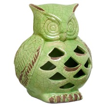 Enfeite Cerâmica Coruja 18x16,5cm Verde Cerâmica Novo Tempo