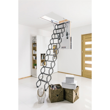 Escada para Sotão Pantográfica Madeira e Alumínio 70x80cm Renafer