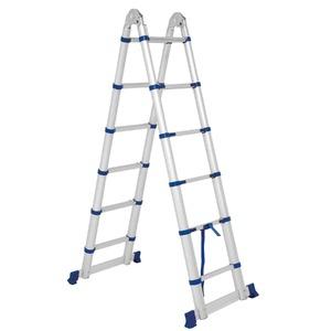 Escada Telescópica Dupla Multifuncional 2x6 Degraus Everest Mor