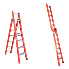 Escada Tesoura Extensível Fibra de Vidro 7 Degraus Fechada e 12 Aberta 2,20x3,80m W Bertolo