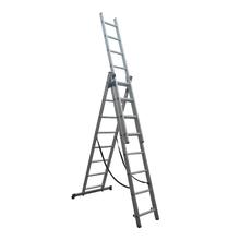 Escada Tripla Extensiva 24 Degraus 3x8 Alumínio Evolux