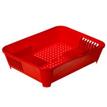 Escorredor de Prato Sobre Pia 12 Pratos Plástico Vermelho Coza