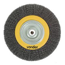 Escova Circular Cerdas Onduladas Aço Carbono Polido Diâm. 152,40 mm Esp. 25,40 mm Diâm. Furo 15,87 mm Rot. Máxima 6000 Rpm