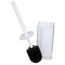 Escova Sanitária com Suporte Acrílico Quadrado Strass Branco