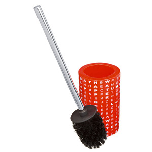 Escova Sanitária com Suporte Louça Redondo Vermelha