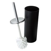 Escova Sanitária com Suporte Metal Redondo Decorline Preta e Prata