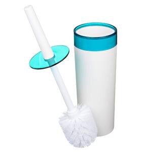 Escova Sanitária com Suporte Plástico Redondo Color Azul e Branco