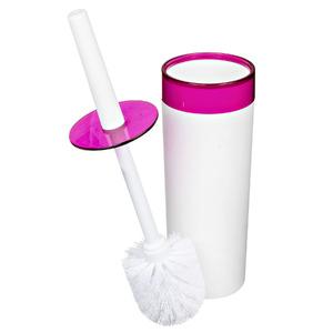 Escova Sanitária com Suporte Plástico Redondo Color Rosa e Branco