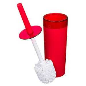 Escova Sanitária com Suporte Plástico Redondo Color Vermelho