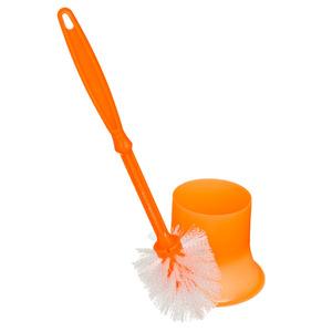 Escova Sanitária com Suporte Plástico Cilíndrico Solex Laranja