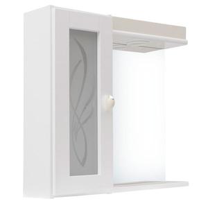 Espelheira Para Banheiro Alfa II MDF Biscuit/Branco C/Luminária 55,5X54,4X13Cm Clássica Darabas