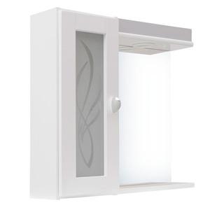 Espelheira Para Banheiro Alfa II MDF Cinza/Branco C/Luminária 55,5X54,4X13Cm Clássica Darabas