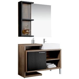 Espelheira de Banheiro Sem Luminária Ameixa/Preto 75x80cm Mezzaroba