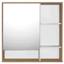 Espelheira de Banheiro Blocc 64x65x13cm Branco e Carvalho Fabribam