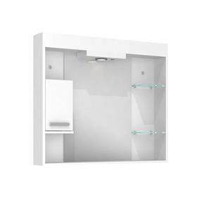 Espelheira de Banheiro Com Luminaria Branco 70x80x12 Napoli Darabras Agardi