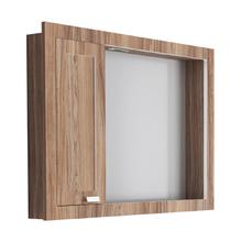 Espelheira de Banheiro com Luminária Branco e Noce 60x81 Argos Gaam